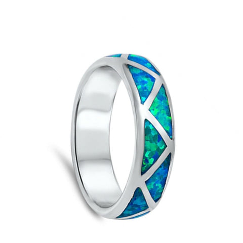 Rings $53.32 Mosaic Blue Lab Opal Smooth Inlay Sterling Silver Ring blue opal