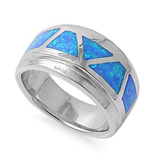 Rings $87.06 Mosaic Blue Opal Smooth Inlay in Band 50-100, badge-toprated, blue, opal, rings