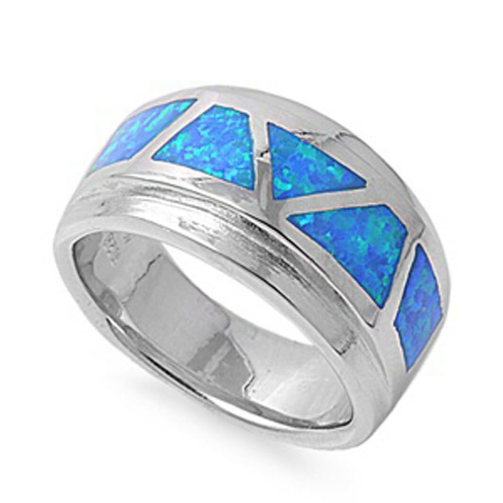Rings $66.97 Mosaic Blue Opal Smooth Inlay in Band blue opal