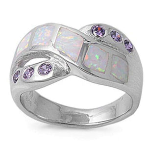 Rings $72.32 Mosaic White Lab Opal with 6 Round Amethyst CZ Stone in a Criss-Cross Ring Band 50-100, amethyst, badge-toprated,