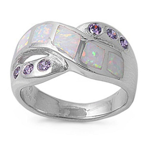 Rings $55.63 Mosaic White Lab Opal with 6 Round Amethyst CZ Stone in a Criss-Cross Ring Band amethyst cubic-zirconia cz opal round