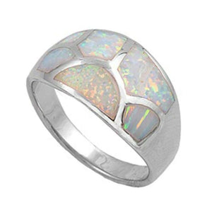 Rings $51.22 Mosaic White Lab Opal with a Web Crack Pattern Design on Ring 50-100, badge-toprated, opal, rings, size-10