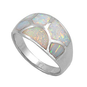Mosaic White Lab Opal with a Web Crack Pattern Design on Ring