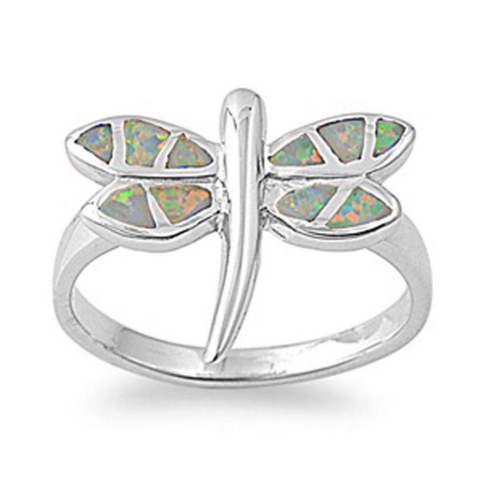 Image of Rings $66.59 Mystic Lab Opal in a Dragon Fly Design Set in a Sterling Silver Ring Band 50-100, animal, badge-toprated, mystic, opal