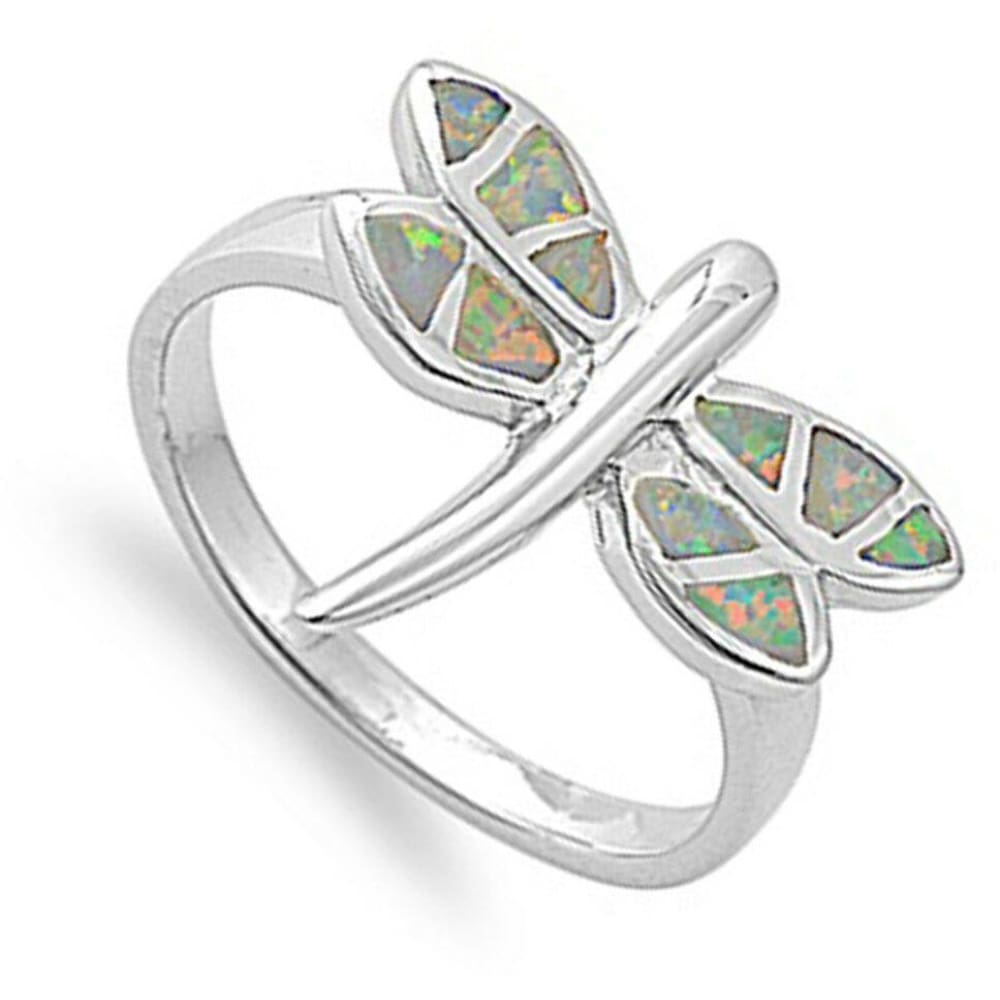 Rings $51.22 Mystic Lab Opal in a Dragon Fly Design Set in a Sterling Silver Ring Band mystic opal