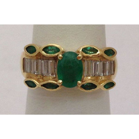Image of Rings $999.99 Natural Oval And Marquise Emerald Yellow Gold Ring With Baguette Diamonds 14K Baguette Band Green Marquise Oval