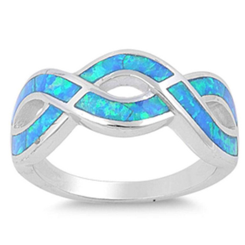 Rings $57.19 Opal Blue Infinity Sterling Silver Ring 25-50, badge-toprated, blue, infinity, opal