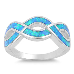 Opal Blue Infinity Sterling Silver Ring