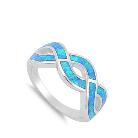 Rings $43.99 Opal Blue Infinity Sterling Silver Ring blue infinity opal