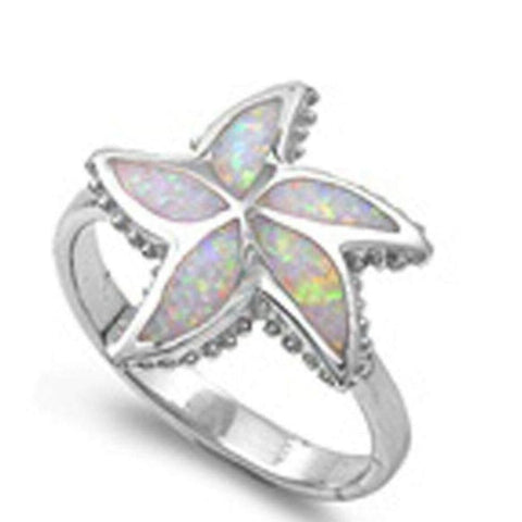 Rings $46.99 Opal Starfish Flower Sterling Silver Ring 25-50, animal, badge-toprated, floral, opal