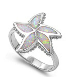 Opal Starfish Flower Sterling Silver Ring