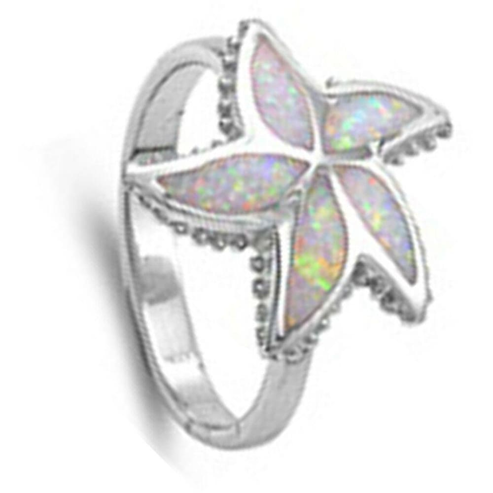 Rings $46.99 Opal Starfish Flower Sterling Silver Ring animal floral opal star white