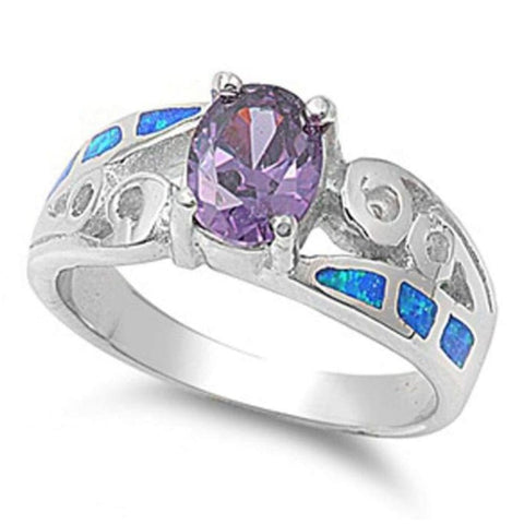 Image of Rings $69.28 Oval Amethyst Cubic Zirconia in a Prong Set with Blue Opal Inlay Set in the Band 50-100, amethyst, badge-toprated,