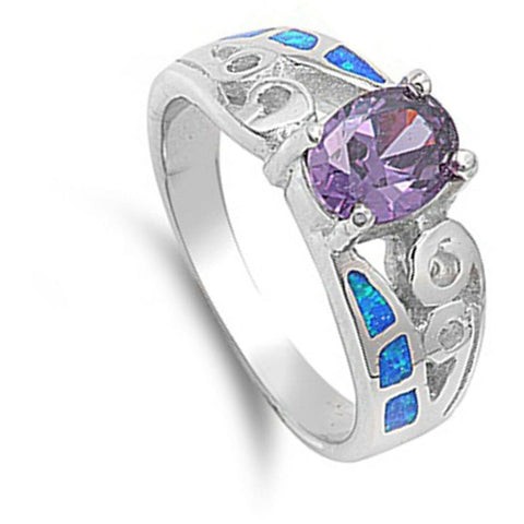 Rings $69.28 Oval Amethyst Cubic Zirconia in a Prong Set with Blue Opal Inlay Set in the Band amethyst cubic-zirconia cz opal