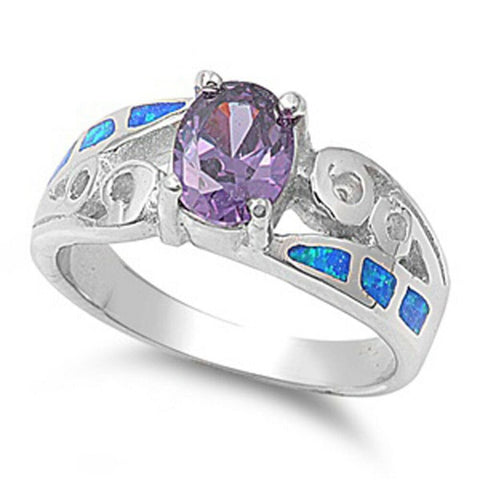 Image of Rings $69.28 Oval Amethyst Cubic Zirconia in a Prong Set with Blue Opal Inlay Set in the Band amethyst cubic-zirconia cz opal