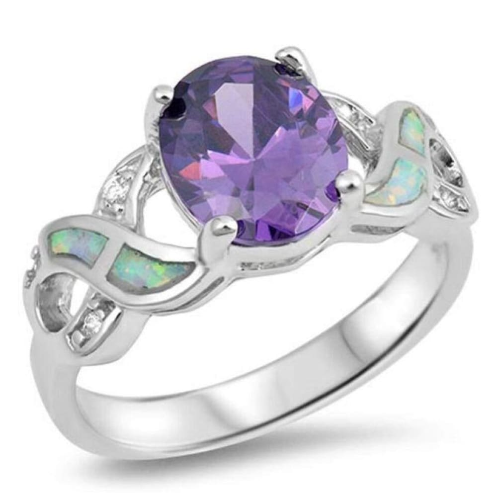 Rings $36.73 Oval Amethyst CZ Stone Set in an Infinity Knot Band with Blue Lab Opal Inlay 25-50, amethyst, badge-toprated, clear,