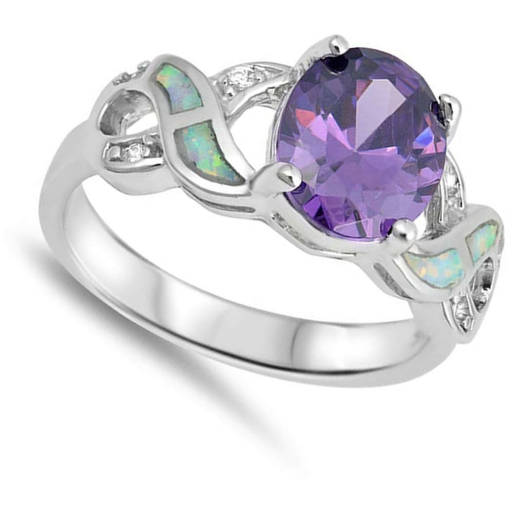 Rings $36.73 Oval Amethyst CZ Stone Set in an Infinity Knot Band with Blue Lab Opal Inlay amethyst clear cubic-zirconia cz opal