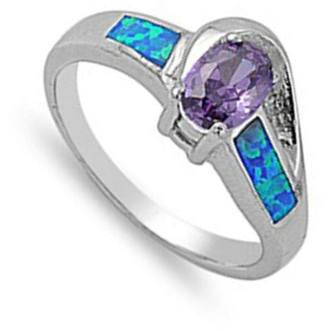 Image of Rings $49.96 Oval Amethyst CZ Stone Swirly Pattern Band with Blue Lab Opal amethyst blue cubic-zirconia cz opal