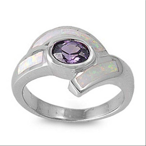 Rings $72.59 Oval Amethyst CZ Stone with White Lab Opal Set in the Band 50-100, amethyst, badge-toprated, cubic-zirconia, cz