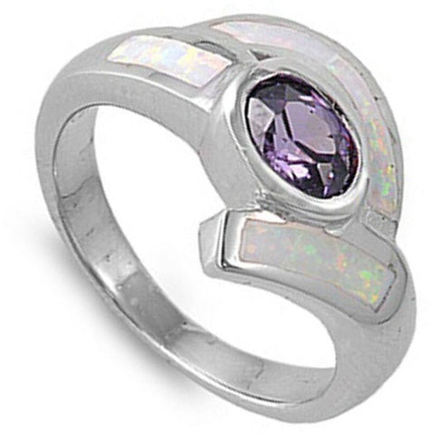 Rings $55.84 Oval Amethyst CZ Stone with White Lab Opal Set in the Band amethyst cubic-zirconia cz opal White