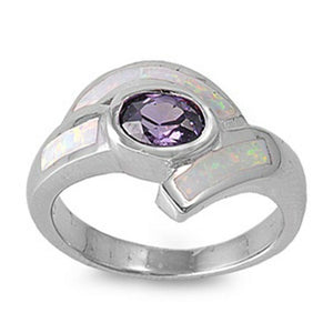 Oval Amethyst CZ Stone with White Lab Opal Set in the Band