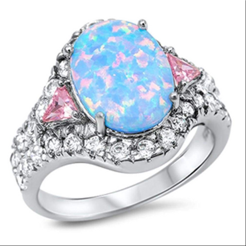 Image of Rings $46.99 Oval Blue CZ Halo Sparkling Ring With Pink CZ Trillion Cut Triangle Stones 25-50, badge-toprated, blue, cubic-zirconia, cz