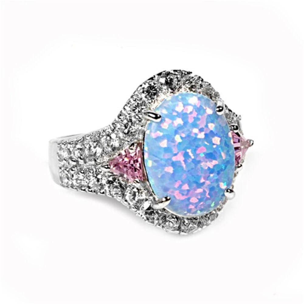 Rings $46.99 Oval Blue CZ Halo Sparkling Ring With Pink CZ Trillion Cut Triangle Stones blue cz er halo opal