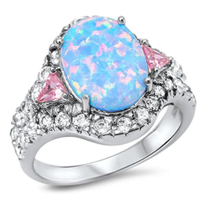 Oval Blue CZ Halo Sparkling Ring With Pink CZ Trillion Cut Triangle Stones