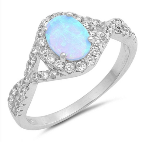 Rings $31.48 Oval Blue Lab Opal Set with Clear CZ Halo in a Twisted Shank Band 25-50, badge-toprated, blue, clear, cubic-zirconia