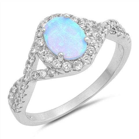 Image of Rings $31.48 Oval Blue Lab Opal Set with Clear CZ Halo in a Twisted Shank Band blue clear cubic-zirconia cz halo
