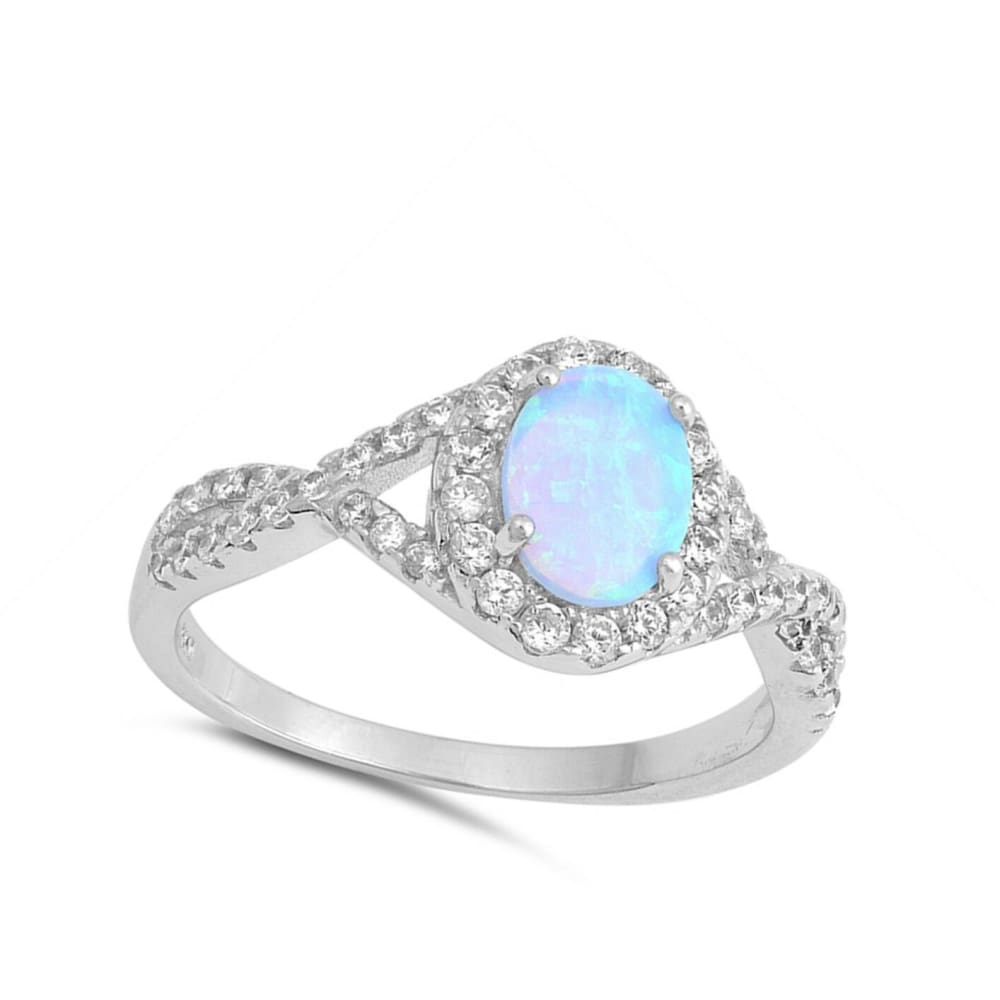 Rings $31.48 Oval Blue Lab Opal Set with Clear CZ Halo in a Twisted Shank Band blue clear cubic-zirconia cz halo
