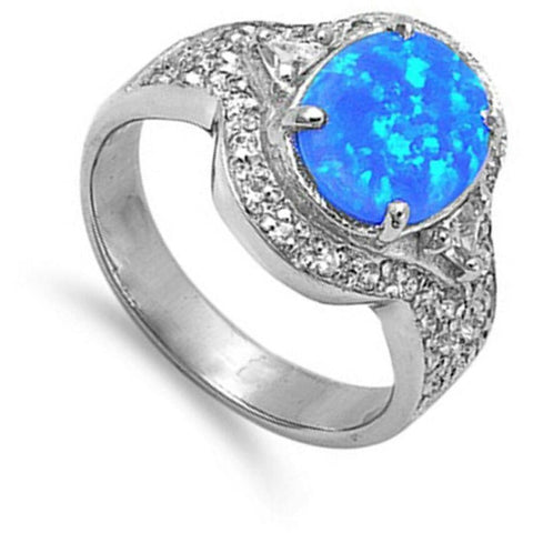 Image of Rings $57.94 Oval Blue Lab Opal Solitaire with Cubic Zirconia Stones Ring blue clear cubic-zirconia cz opal