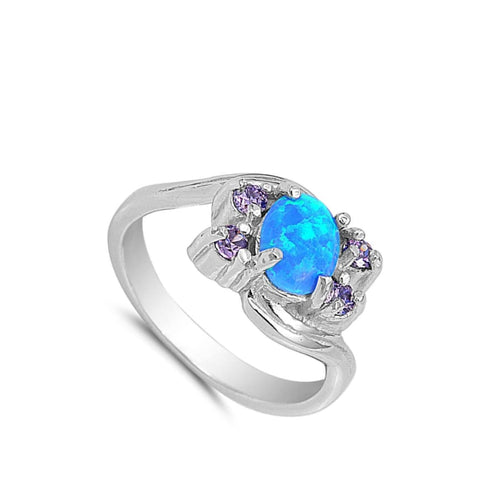 Image of Rings $33.16 Oval Blue Lab Opal with Amethyst CZ Stones Set in the Sterling Silver Band amethyst cubic-zirconia cz opal oval