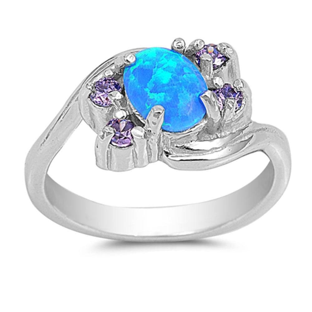 Rings $33.16 Oval Blue Lab Opal with Amethyst CZ Stones Set in the Sterling Silver Band amethyst cubic-zirconia cz opal oval