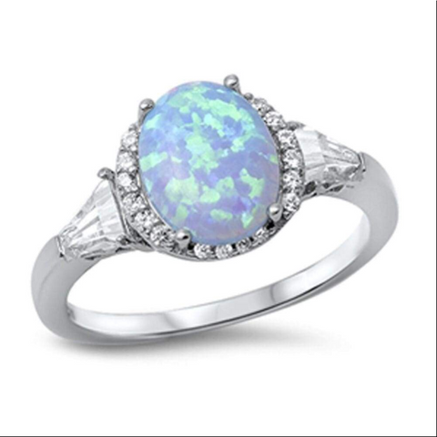 Image of Rings $49.66 Oval Blue Lab Opal with Clear CZ Stone Halo and Accents Set in Sterling Silver Ring 25-50, accent, badge-toprated, blue, clear