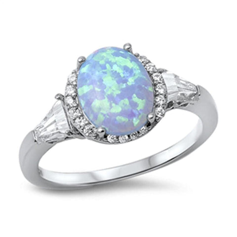 Image of Rings $29.38 Oval Blue Lab Opal with Clear CZ Stone Halo and Accents Set in Sterling Silver Ring 25-50 accent blue clear cubic-zirconia
