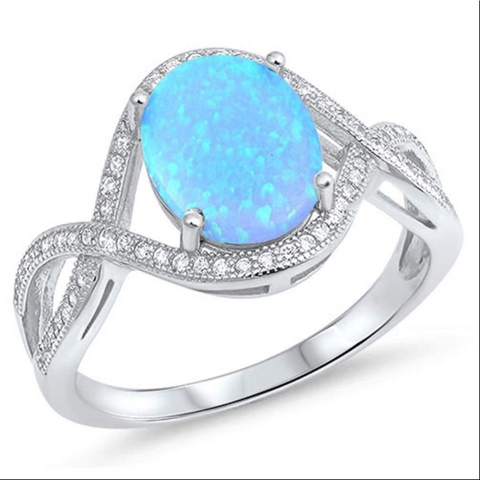 Image of Rings $59.02 Oval Blue Lab Opal with Clear CZ Stones in an Infinity Design Ring 25-50, badge-toprated, clear, cubic-zirconia, cz
