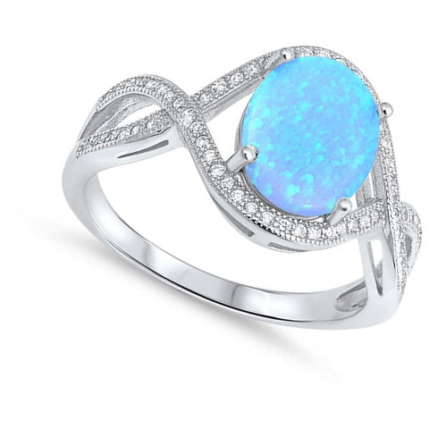 Image of Rings $36.31 Oval Blue Lab Opal with Clear CZ Stones in an Infinity Design Ring clear cubic-zirconia cz opal oval