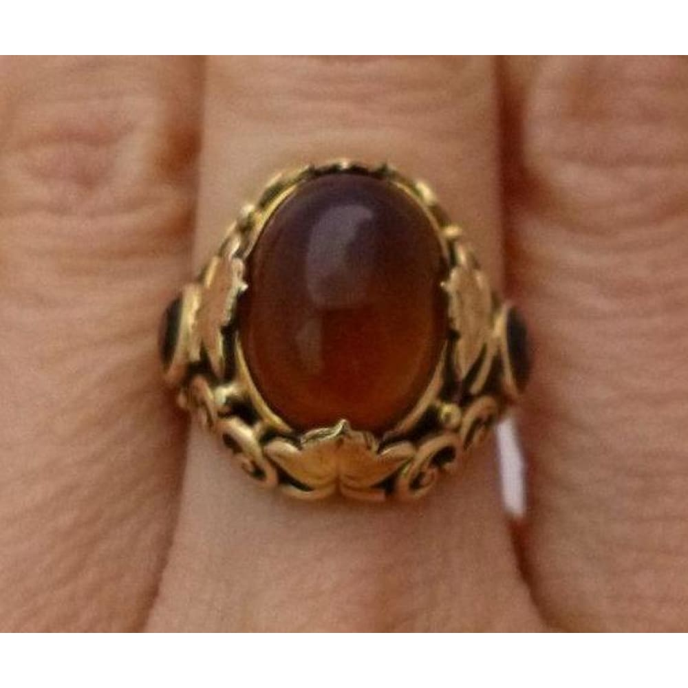 Rings $799.99 Oval Cabochon Citrine Ring 14K Yellow Gold - Filagree Design Brown Colored Stones Orange Yg