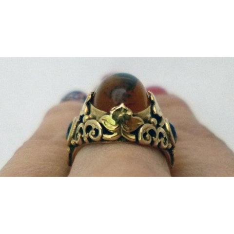 Image of Rings $799.99 Oval Cabochon Citrine Ring 14K Yellow Gold - Filagree Design Brown Colored Stones Orange Yg