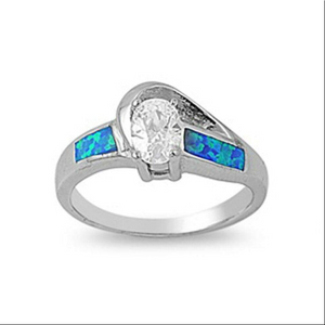 Rings $77.45 Oval Clear CZ Stone Swirly Pattern Band with Blue Lab Opal 25-50, badge-toprated, blue, clear, cubic-zirconia