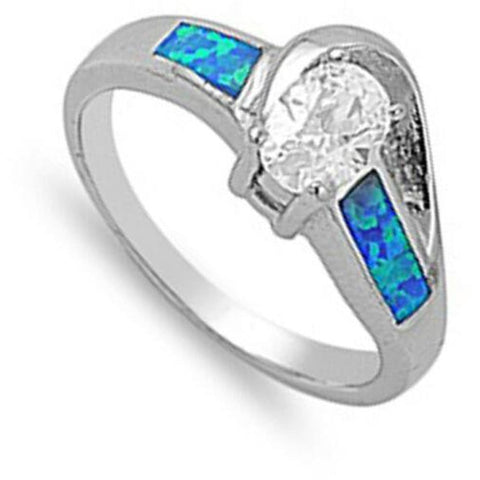 Rings $49.96 Oval Clear CZ Stone Swirly Pattern Band with Blue Lab Opal blue clear cubic-zirconia cz opal