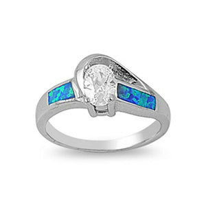 Oval Clear CZ Stone Swirly Pattern Band with Blue Lab Opal