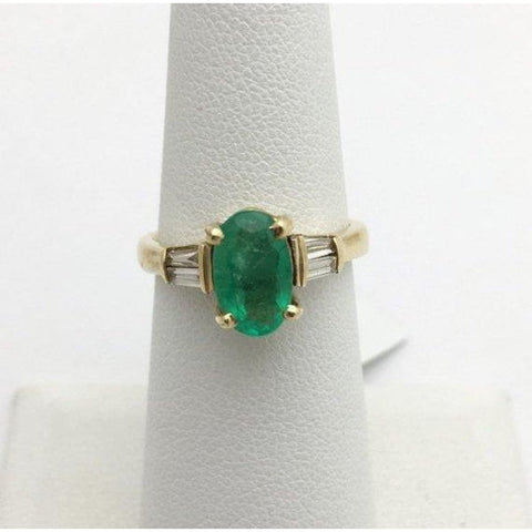 Image of Rings $499.99 Oval Cut Natural Emerald Gold Ring With Baguette Diamonds Yellow Gold Baguette Green Oval Yg