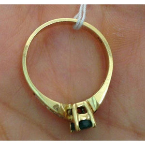 Oval Cut Natural Emerald with Diamonds Yellow Gold Ring 14K