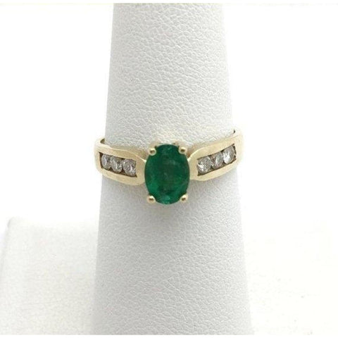 Image of Rings $799.99 Oval Cut Natural Emerald With Diamonds Yellow Gold Ring 14K Colored Stones Green Oval Yg