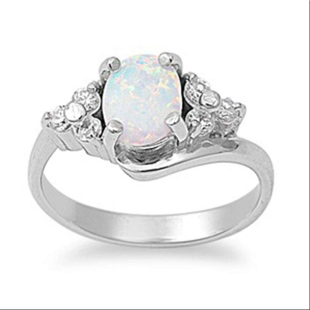 Rings $62.39 Oval Cut Opal with Accent CZ Stones Sterling Silver Engagement Ring 25-50, badge-toprated, clear, cubic-zirconia, cz