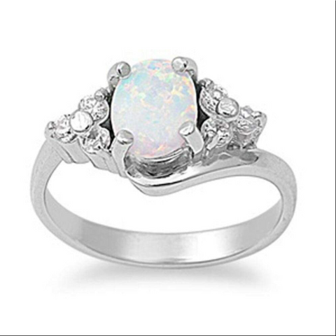 Image of Rings $62.39 Oval Cut Opal with Accent CZ Stones Sterling Silver Engagement Ring 25-50, badge-toprated, clear, cubic-zirconia, cz
