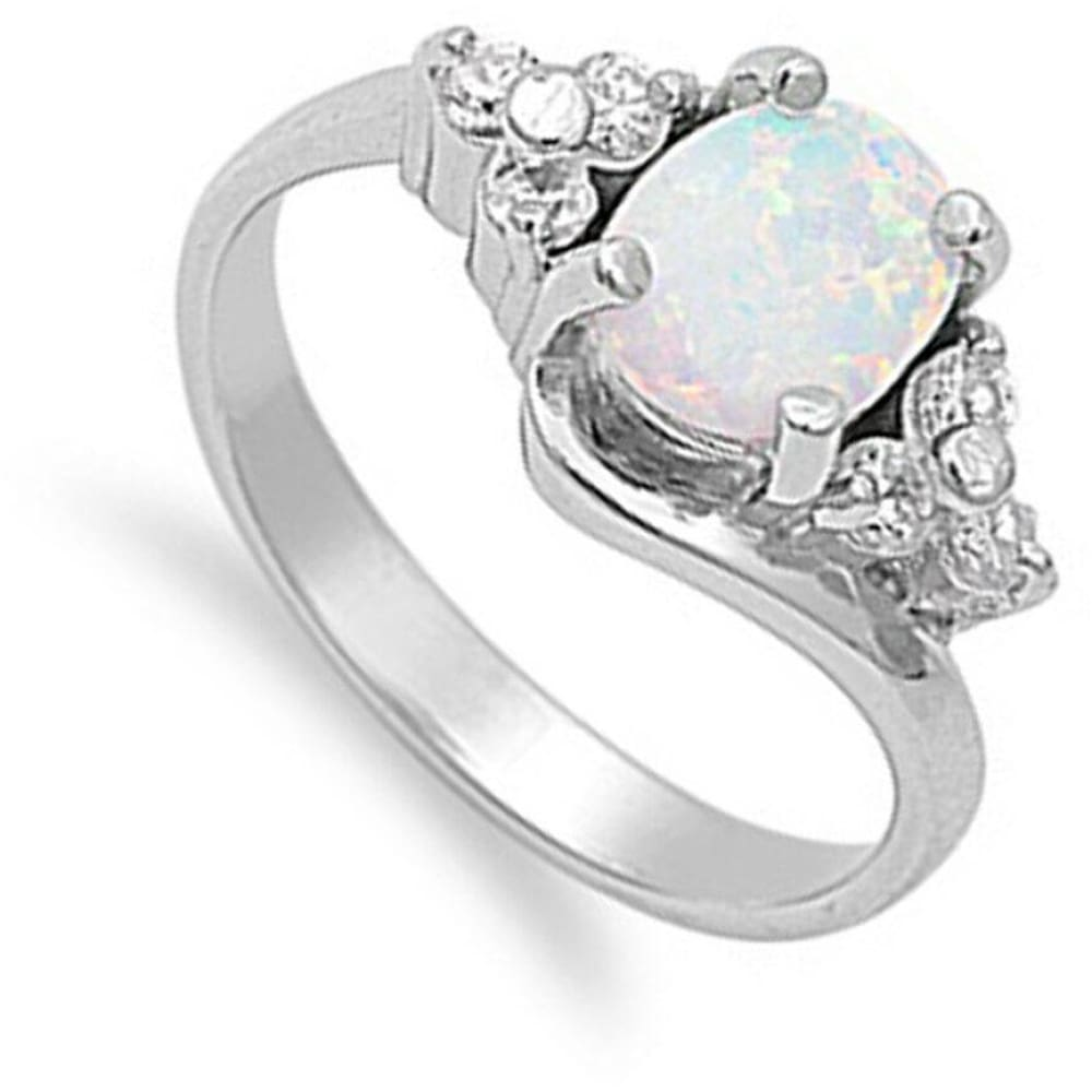 Rings $47.99 Oval Cut Opal with Accent CZ Stones Sterling Silver Engagement Ring clear cz er opal white