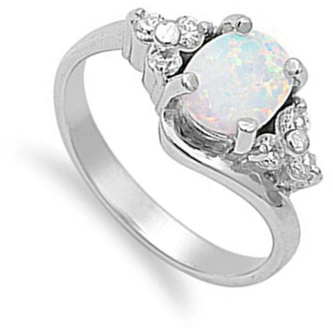 Image of Rings $47.99 Oval Cut Opal with Accent CZ Stones Sterling Silver Engagement Ring clear cz er opal white